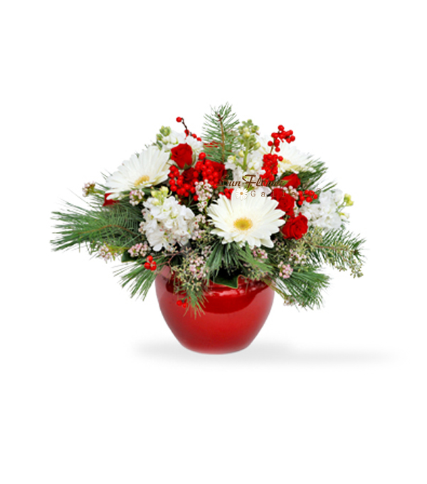 White Snow winter holiday season flowers by Sun Flower Gallery.