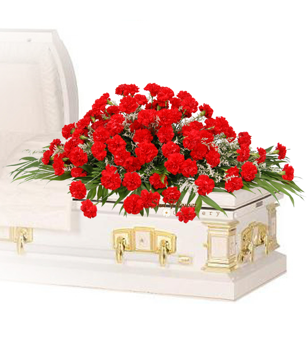 Red Carnation Casket Spray Deluxe