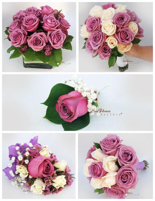 purple rose wedding flower package