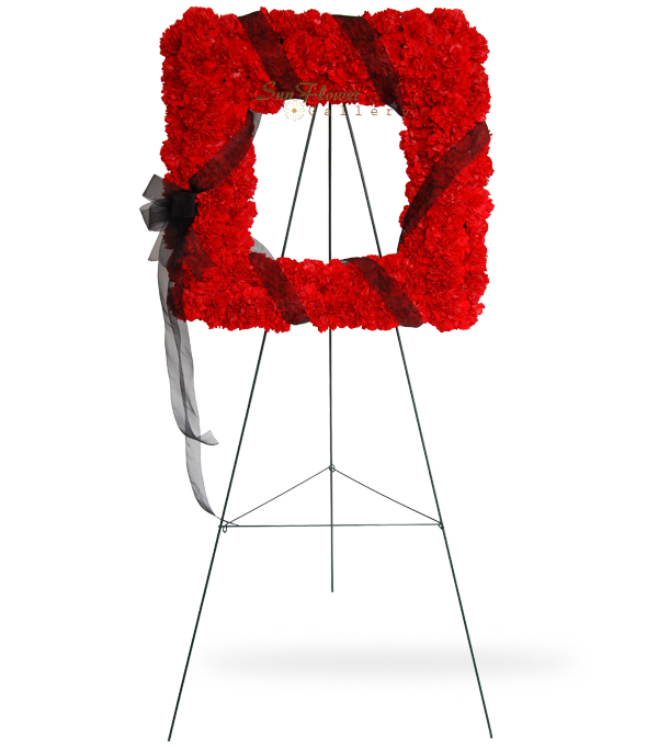 Square Red Carnation Wreath
