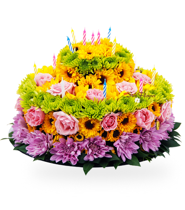 Sweet Birthday Cake flower arrangement to celebrate a birthday from Sun Flower Gallery in Glenview IL.