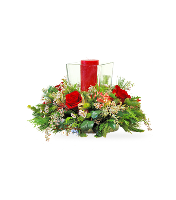 Square Hurricane Centerpiece Flowers for Christmas by Sun Flower Gallery