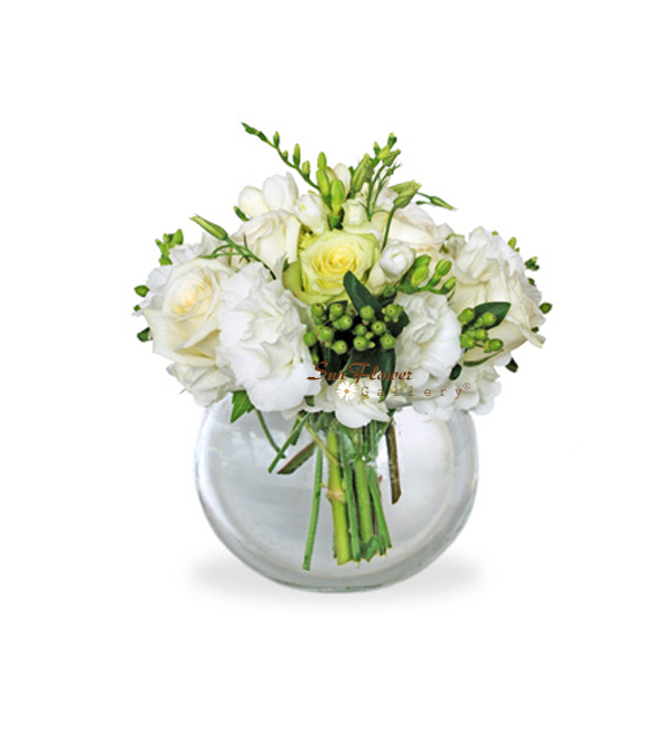 White Serenity flower arrangement by Sun Flower Gallery
