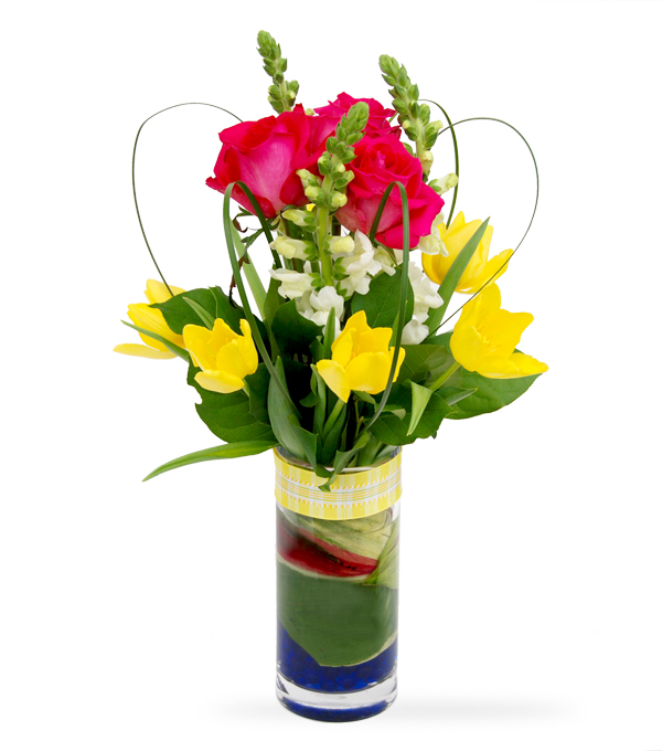 Tulip Carousel flower arrangement by Sun Flower Gallery.