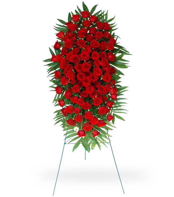 100 Red Rose Easel Spray