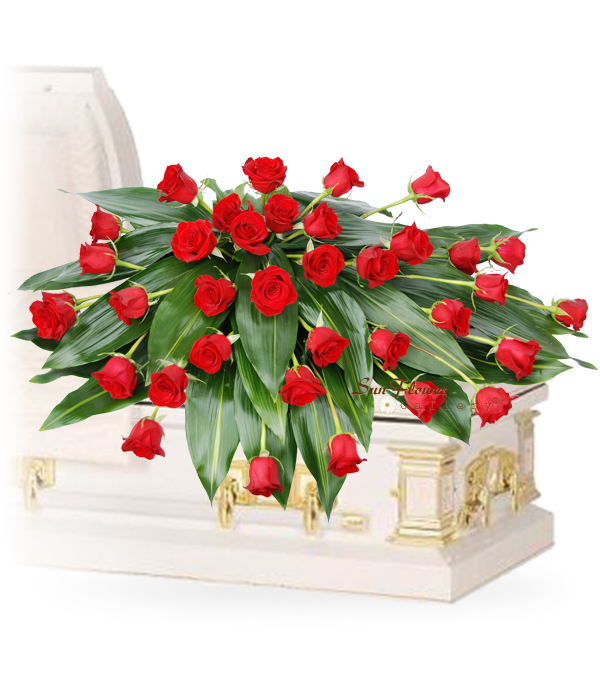 Graceful 36 Red Rose Casket Spray