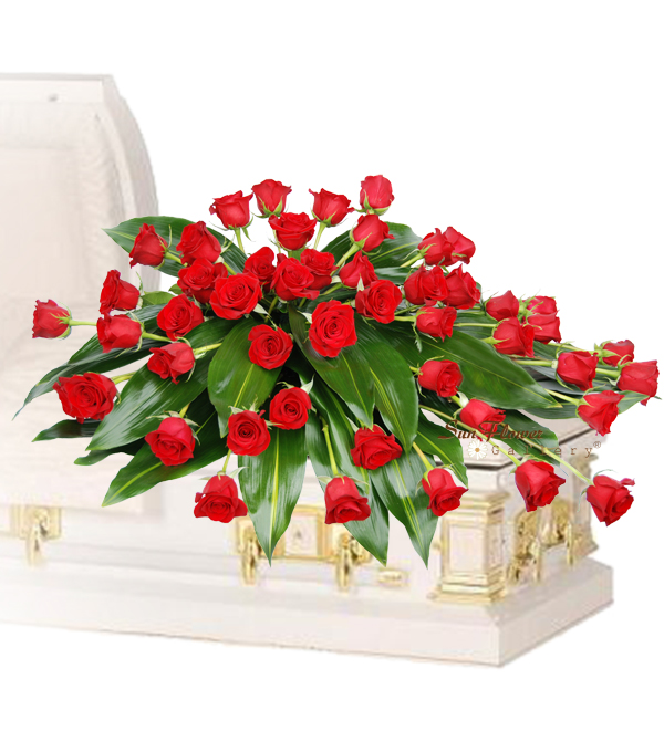 Graceful 48 Red Rose Casket Spray