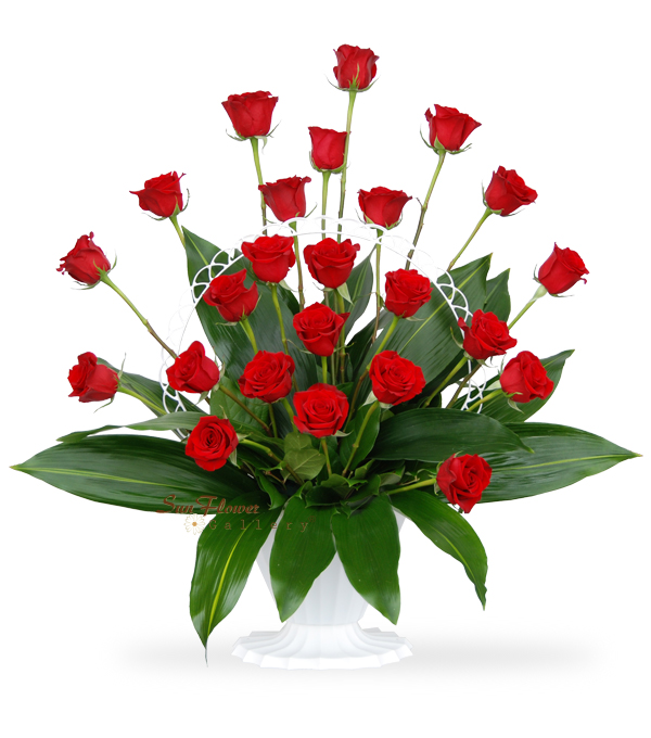 Graceful Basket of 24 Red Roses
