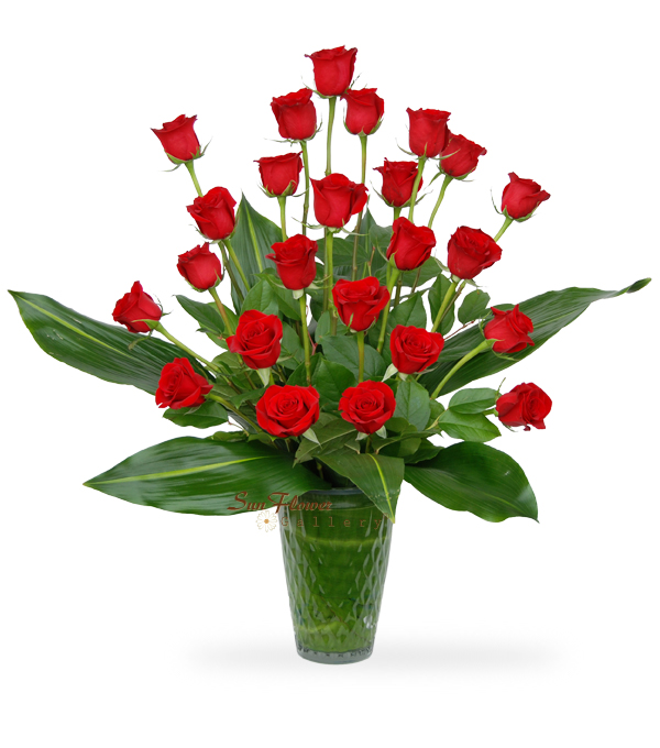 Graceful Vase Of 24 Red Roses