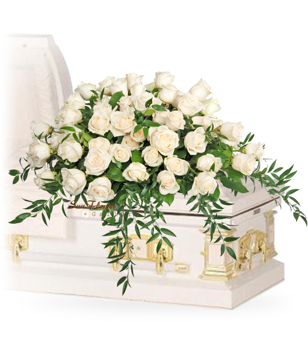 Just White Roses Casket Spray in Glenview Il by Sun Flower Gallery