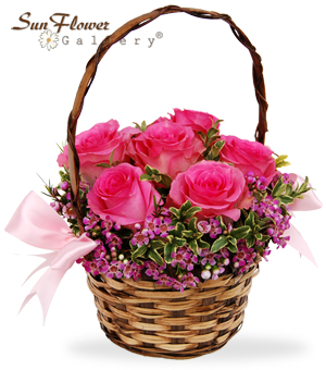 roses for you arrangement in a basket by Sun Flower Gallery in Glenview