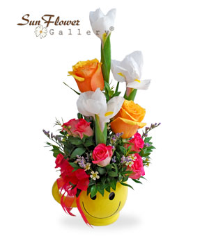 Smiley Cup Get Well Flowers