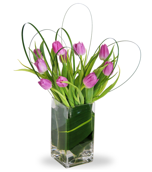 Lavender Tulip Bunch flower arrangement